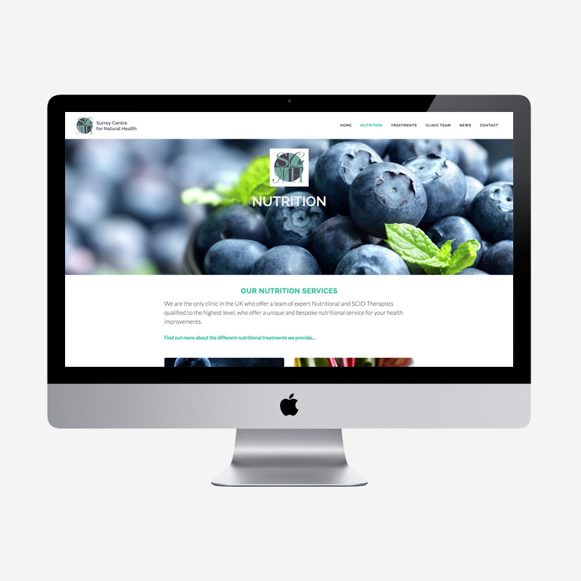 Surrey Centre for Natural Health website re-design